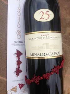 Caprai bottle of Sagrantino with Cruciani bracelet
