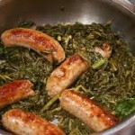 sausages and turnip greens