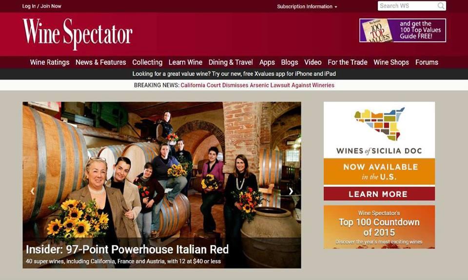 Wine Spectator home page con il team delle cantine di Donatella Cinelli Colombini