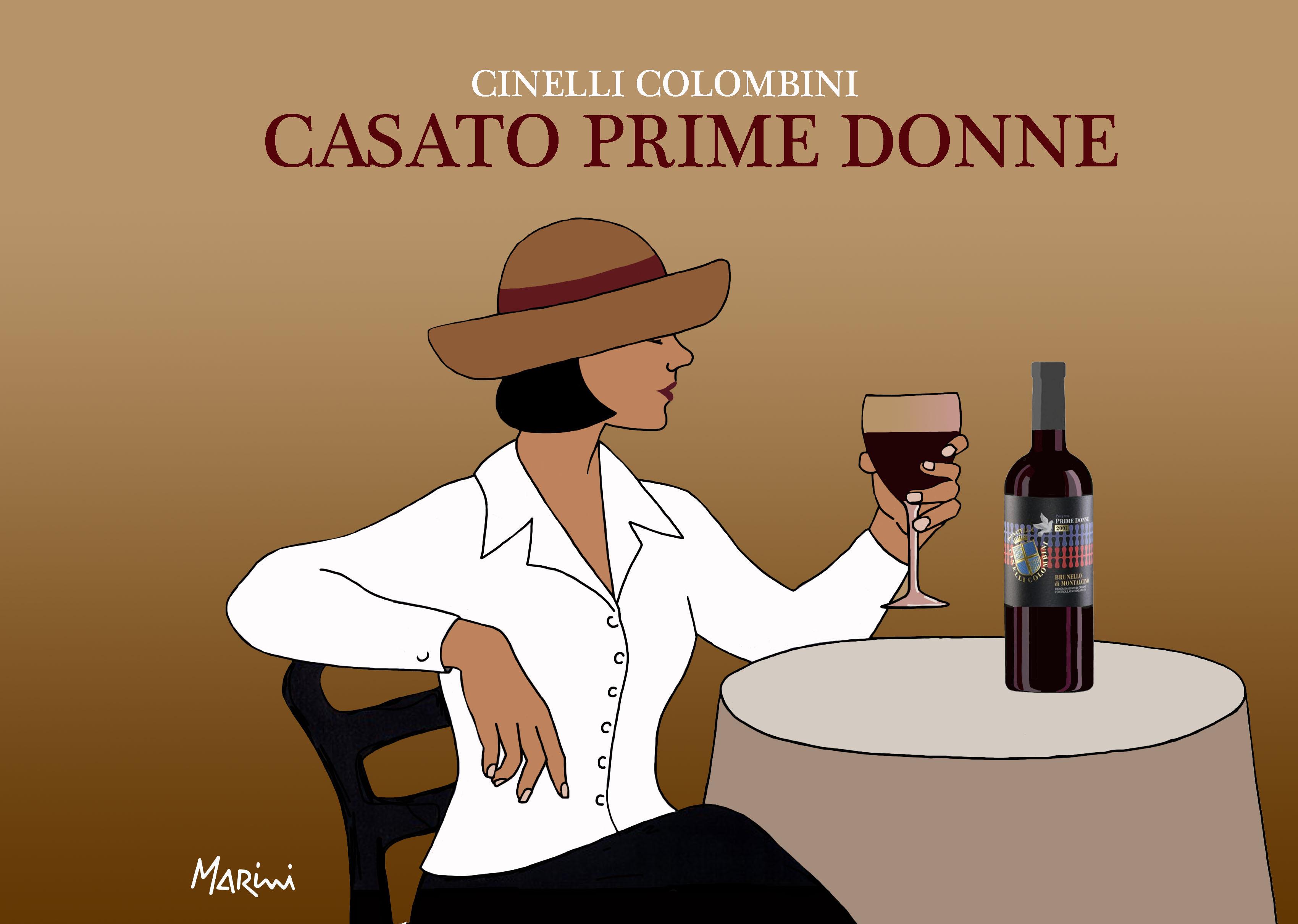 Valerio Marini vignetta del Brunello Casato Prime Donne