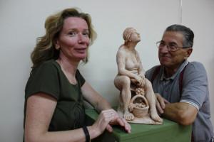 Sandra Savaglio and Piero Sbarluzzi with his sculpture Vita